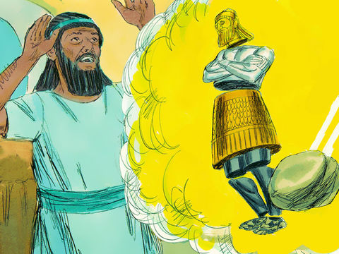 Daniel raconte le rêve de Nébucadnetsar: le roi a vu une immense statue. La tête de cette statue était en or pur, sa poitrine et ses bras en argent, son ventre et ses cuisses en bronze, ses jambes en fer, ses pieds en partie en fer et en partie en argile.