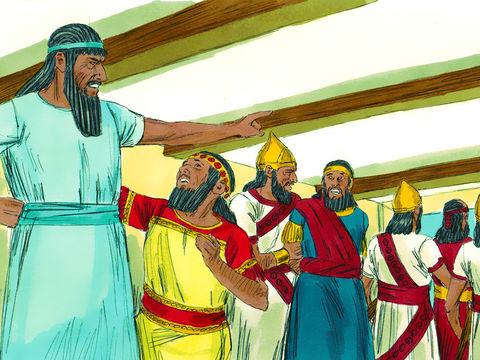 Le roi Nébucadnetsar a fait un rêve troublant il demande aux sages et aux magiciens de lui raconter le rêve puis de l'interpréter, mais ils en sont incapables. Ils risquent le mort.