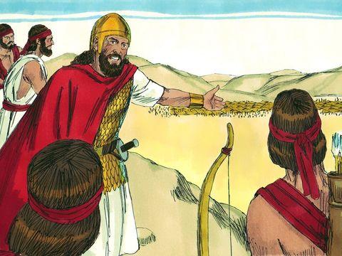 Alors que les armées philistines installent leur camp à Sunem, Saül et les Israélites se positionnent sur le mont Guilboa. A la vue des Philistins, Saül est rempli de peur et cherche à consulter l'Éternel mais Dieu s'est détourné de lui.