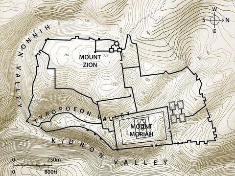 Plan de Jérusalem, la vallée de Hinnom où se situait le Tophet lieu idolâtrique et de sacrifices d'enfants.