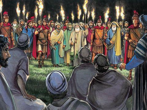 Jésus a montré un courage admirable devant la troupe d'hommes, de soldats, armés d'épées et de bâtons, munis de torches et de lanternes menée par Juda qui le trahit. Leur intention est terrible : mettre à mort Jésus. Jésus ne fuit pas, il sait...
