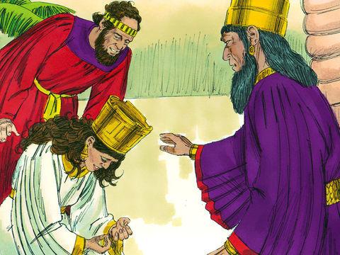 La reine Esther se jette aux pieds du roi en pleurant et en suppliant de faire échec à la méchanceté d'Haman, l'Agaguite, et à ses projets contre les Juifs. « Comment pourrais-je supporter d'assister au malheur qui frapperait mon peuple, à la disparition