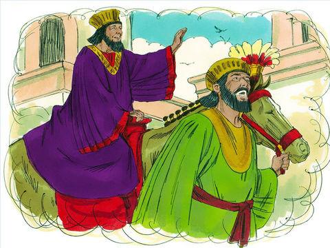 Le roi dit alors à Haman de faire tout ce qu'il vient de dire pour le Juif Mardochée sans rien négliger de tout ce qui a été mentionné !