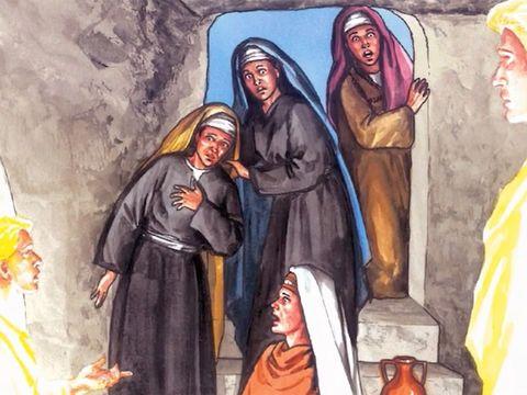 Deux anges sont apparus aux femmes venues chercher Jésus qui venait de ressusciter. Ils ont l'apparence de deux hommes vêtus de vêtements resplendissants.