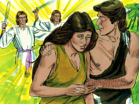 Lorsqu'Adam et Eve ont été chassés du jardin, des chérubins leur empêchaient l'accès à l'arbre de la vie. Après avoir chassé Adam, il posta à l'est du jardin d'Eden les chérubins qui agitent une épée flamboyante pour garder le chemin de l'arbre de vie.