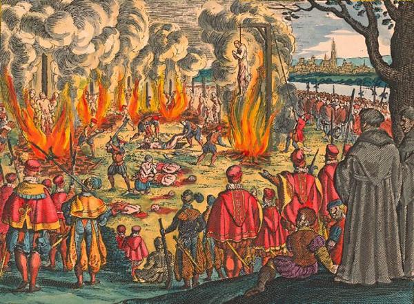Après l'affaire des placards où les auteurs niaient la doctrine de la transsubstantiation et l'édit de Fontainebleau, le roi François persécute les protestants les menant au bûcher où ils sont brûlés vifs. Beaucoup de protestants fuient la France.