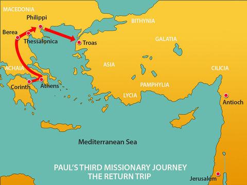 Au cours de son deuxième voyage missionnaire, l'apôtre Paul et ses compagnons décident de rester une semaine à Troas, ville maritime de la Mysie en Asie mineure. Les chrétiens se réunissent la veille de son départ.