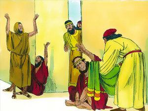 Mardochée se couvre d'un sac et de cendres et crie à cause du décret autorisant l'extermination des Juifs