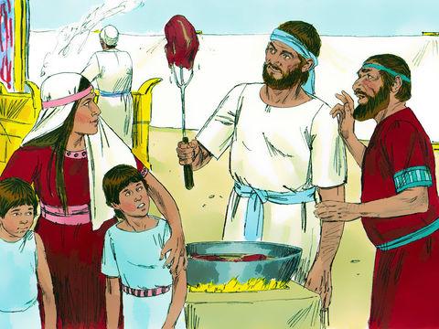 Ce n'est que très âgé qu'Eli apprend le comportement impardonnable de ses fils qui mangent la viande consacrée à Dieu et couchent avec les femmes qui se rassemblent à l'entrée du Tabernacle. Leur père les reprend: Pourquoi faites-vous de telles choses ?