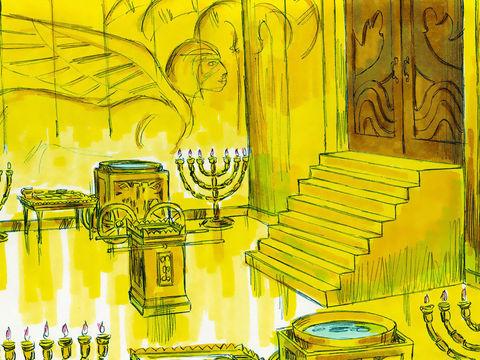 La construction du Temple commence la 4ème année de règne de Salomon sur le mont Moria et va durer 7 ans. Le Temple mesure 30 m de long. Le sanctuaire est couvert intérieurement d'or pur. Salomon utilise 18 tonnes d'or pur pour la salle du Très-Saint.