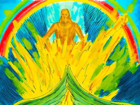 Au-dessus de la voûte céleste se trouve un trône de saphir sur lequel est assis un personnage étincelant comme le feu. La lumière rayonne autour de lui, a l'aspect de l'arc-en-ciel et reflète la gloire de Jéhovah. Comme le trône de Dieu dans l'Apocalypse.