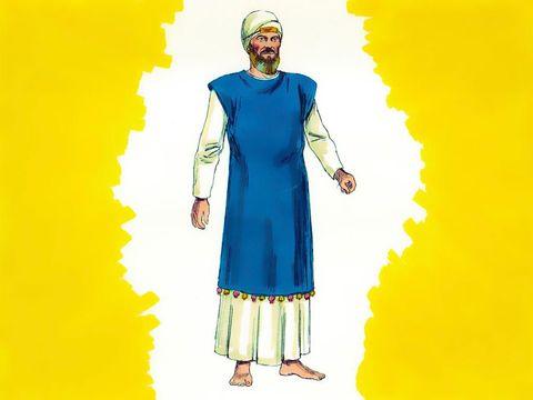 La robe bleue bordée de clochettes. Le grand prêtre doit la porter pour faire le service sans quoi il risque de mourir. Aaron s'en revêtira pour remplir son ministère, afin qu'on entende le son des clochettes quand il entrera dans le sanctuaire.