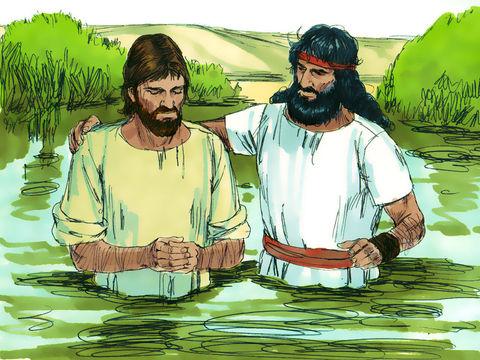 Baptême de Jésus dans le Jourdain. Jean le Baptiseur baptise Jésus.