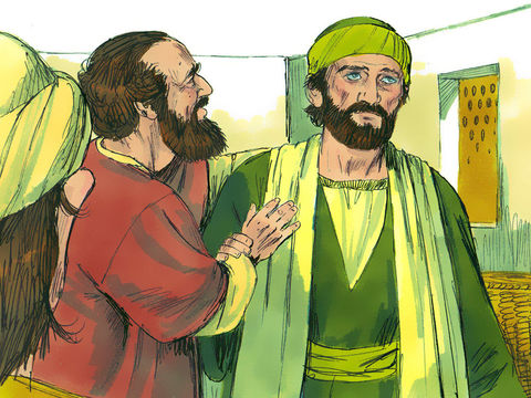 Ananias partit et, lorsqu'il fut arrivé dans la maison, imposa les mains à Saul et dit : Saul, mon frère, le Seigneur Jésus qui t'est apparu sur le chemin par lequel tu venais, m'a envoyé pour que tu recouvres la vue et que tu sois rempli d'Esprit Saint.