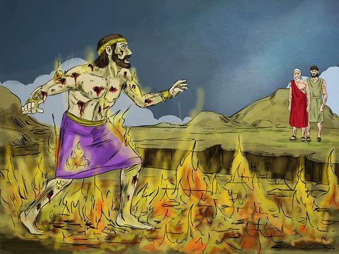 L'homme riche demande alors à Abraham : « Père Abraham, aie pitié de moi et envoie Lazare pour qu'il trempe le bout de son doigt dans l'eau afin de me rafraîchir la langue, car je souffre cruellement dans cette flamme. »