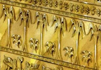 La feuille de palmier, ou palme, était un motif d'ornementation dans le temple de Salomon.