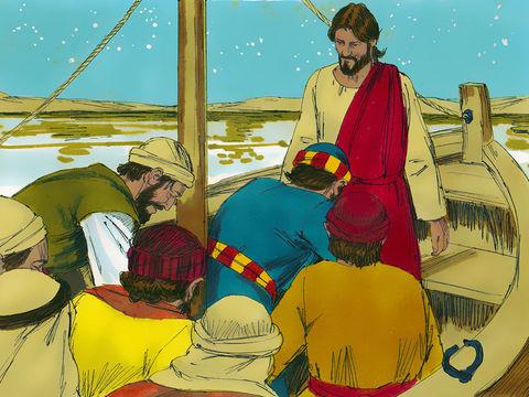 Jésus et Pierre montent tous les deux dans la barque, et le vent s'arrête de souffler.   Ses disciples se prosternent alors devant Jésus en disant : «Tu es vraiment le Fils de Dieu.»