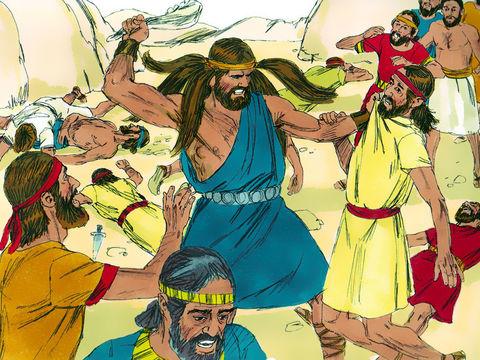 Samson vient de tuer 1000 Philistins avec une mâchoire d'âne ! Il meurt de soif et en appelle à Dieu qui fend la cavité d'un rocher pour qu'il en sorte de l'eau. Samson boit l'eau de cette source miraculeuse et retrouve ses forces.