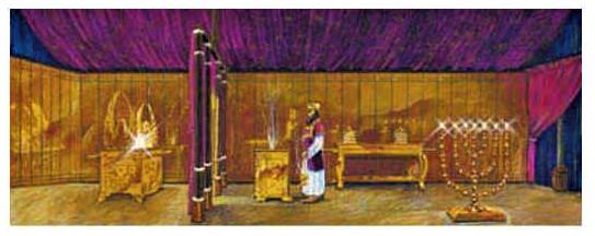 Le chandelier ou porte-lampes à 7 branches en or pur est placé dans le Saint du sanctuaire ou Tabernacle, sur le côté Sud, face à la table des pains consacrés recouverte d'or.