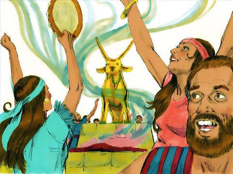 Voyant que Moïse tarde à descendre, le peuple décide de se fabriquer une idole, un veau d'or à qui ils accordent l'adoration qui revient à Jéhovah. Dieu dit à Moïse: Va, descends car ton peuple que tu as fait monter du pays d'Egypte s'est conduit très mal
