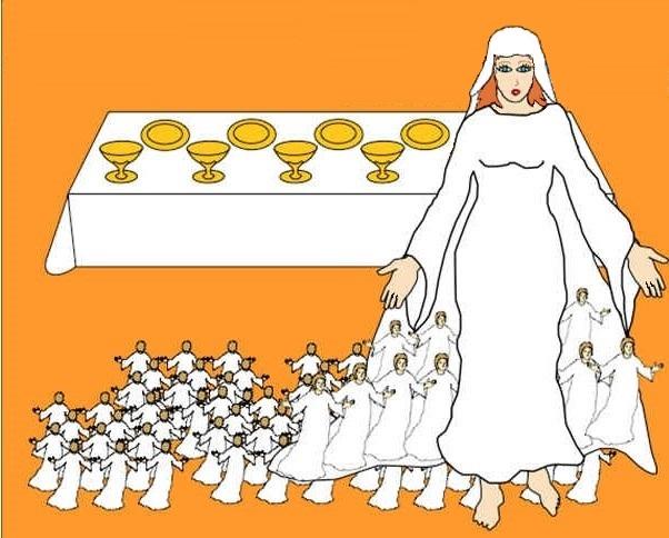 Jésus va régner avec son épouse symbolique: la Jérusalem céleste ou Nouvelle Jérusalem ou Sion ou 144 000 ou 24 anciens. Son épouse est pure et irréprochable. Que ton règne vienne!
