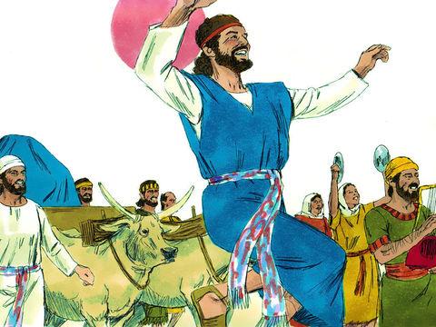 Nous voyons le roi David danser avec énergie quand il a fait monter l'arche de l'alliance à Jérusalem.  Tout Israël fit monter l'arche de l'alliance de Yahweh avec des cris de joie, au son de la trompette, des clairons et des cymbales.
