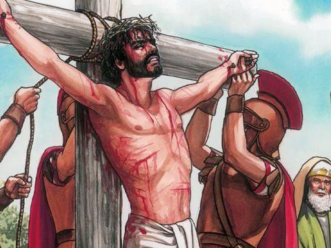 Jésus a été crucifié par les Romains. Il a donné sa vie, son âme pour nous.