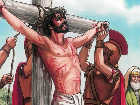 Jésus a été crucifié par les Romains. Il a donné sa vie, son âme pour nous. Jésus est venu sur terre pour donner son âme, sa vie, comme rançon pour l'humanité.