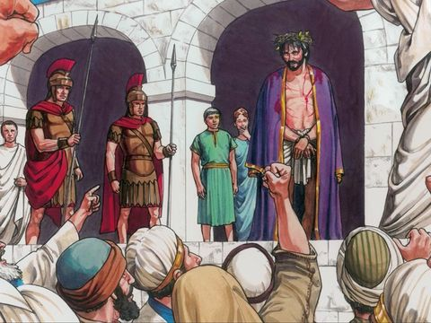 Jésus s'est retrouvé devant une foule de Juifs haineux qui criaient de le mettre à mort, de le crucifier ! La haine du peuple juif à l'égard de Jésus s'est pleinement manifestée devant Pilate qui a cédé à leur demande et livré Jésus au fouet et à la mort