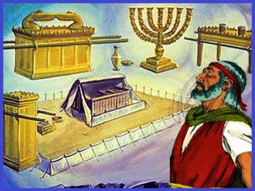 Yahvé avait donné des instructions précises à Moïse pour la construction du Tabernacle. L'arche de l'alliance, la table des offrandes ou table des pains consacrés, l'arche de l'alliance et le propitiatoire en or massif, le chandelier en or massif...