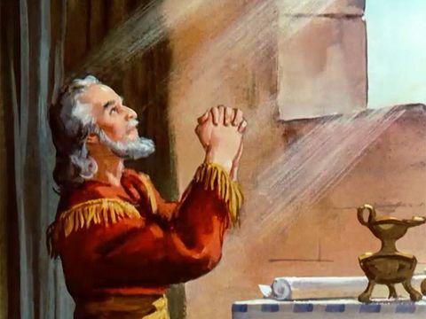 Daniel a prié Jéhovah Dieu. Pour cela il est condamné à la fosse aux lions. Un décret obligeait sujets à ne prier que le roi Darius.