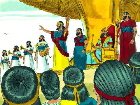 Le roi de Babylone va ordonner que toutes les habitants du royaume se prosternent et adorent la statue qu'il a fait dresser.
