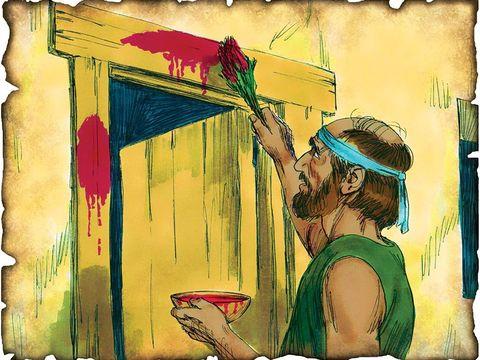 Au cours de la dernière plaie d'Egypte, tous les enfants premiers-nés des maisons dont les montants des portes n'ont pas été aspergés de sang d'un agneau sont tués par un ange de Dieu, y compris le fils du pharaon lui-même.