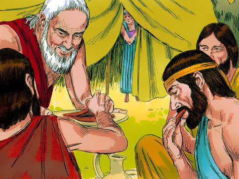 Abraham accueille 3 anges qui viennent lui annoncer que Sara sera enceinte, ce sont 3 anges