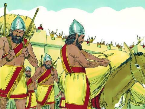 Nébucadnetsar emporte avec lui une partie des ustensiles sacrés du Temple de Jéhovah comme butin pour son dieu babylonien. Il emmène en captivité de nombreux nobles dont Daniel et ses trois compagnons, Hanania, Mishaël et Azaria.