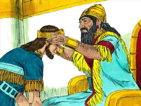 Nébucadnetsar établit à la place de Jojakin son oncle Matthania, fils de Josias, dont il change le nom en Sédécias. Sédécias, fils de Josias, devint roi à la place de Jéconia, le fils de Jojakim, car il avait été désigné par Nebucadnetsar roi de Babylone.