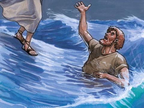 Jésus me tend la main pour m'empêcher de me noyer. Ma Foi m'a sauvé. Mais suis-je sauvé pour toujours? Non.