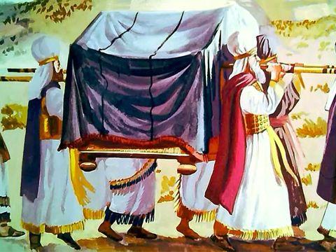 Les prêtres portent l'arche de l'alliance, symbole de la puissance de Dieu. Les habitants de Jéricho sont effrayés.