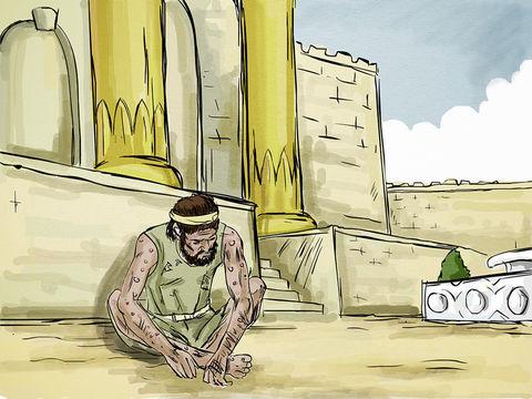 Devant le portail de l'homme riche, était couché un pauvre homme couvert d'ulcères qui s'appelait Lazare. Le malheureux aurait bien voulu se rassasier des miettes qui tombaient de la table du riche. Et les chiens venaient même lécher ses ulcères.