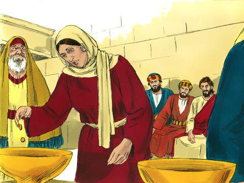 C'est dans la cour des femmes que l'on trouve les troncs du trésor. Jésus se tient près d'un de ces coffres lorsqu'il fait l'éloge de la veuve qui a donné tout ce qu'elle avait.