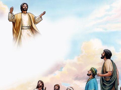 Jésus s'éleva dans les airs pendant qu'ils le regardaient, une nuée le cacha à leurs yeux. Puis deux anges s'adressent aux apôtres.