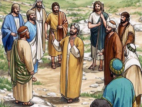 Jésus retourne dans les cieux, vers son Père céleste. Au moment de son ascension, apparaissent deux anges qui parle aux apôtres pour leur dire que Jésus reviendra de la même façon qu'il est parti.