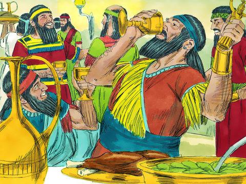Le dernier roi du puissant empire néo-babylonien (ou chaldéen), Belshatsar, est réuni avec 1000 de ses hauts-fonctionnaires pour un banquet, les coupes d'or du temple de Dieu sont utilisées pour boire du vin et célébrer les faux dieux.