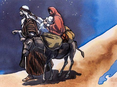 Joseph et Marie et Jésus fuient en Egypte pour échapper au massacre prévu par le roi Hérode.