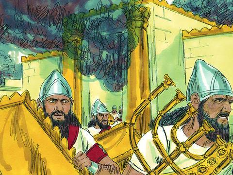 Les armées babyloniennes de Nébucadnetsar (605-562) pénètrent dans la ville et détruisent le Temple de Jérusalem le 7ème jour du 5ème mois, la 19ème année du règne de Nébucadnetsar (605-562).  C'est-à-dire en Juillet 587 av J-C.