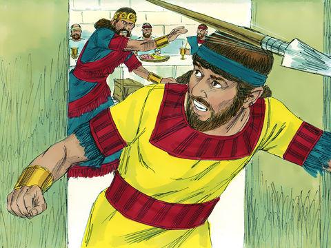 David n'a jamais rien fait contre le roi mais Saül, par jalousie, va même jusqu'à exterminer tous les habitants de la ville de Nob où le prêtre Achimélec avait aidé David.