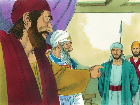 Etienne est faussement accusé. Il se défend avec hardiesse devant les pharisiens du sanhédrin.