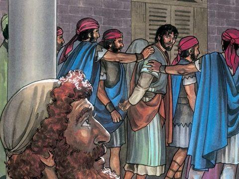 Lorsque le coq se met à chanter, il se souvient des paroles de Jésus : «Avant que le coq chante, tu me renieras trois fois.» Pierre en pleure amèrement, il a eu peur et a renié Jésus-Christ.