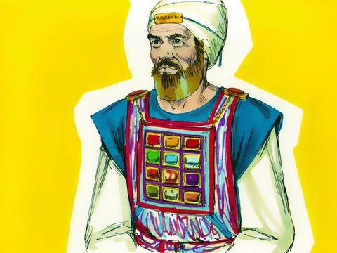 L' éphod et son écharpe (sorte de tablier qui se porte sur les épaules avec 2 pierres d'onyx sur les bretelles). Sur les pierres d'onyx sont gravés les noms des 12 fils de Jacob (6 noms sur chaque pierre d'après l'ordre de naissance).