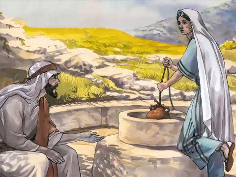 Jésus s'adresse  à une femme Samaritaine en train de puiser de l'eau